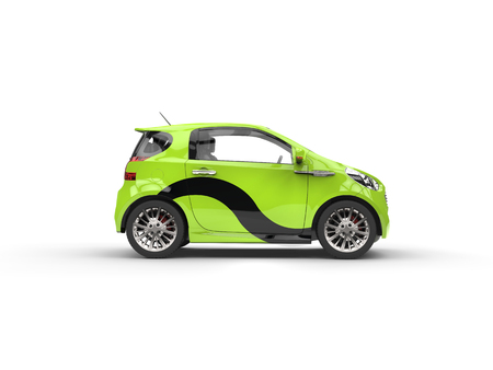 Compact Green Car with Black Decal