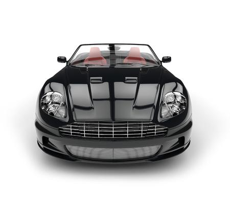Black convertible sports car - front view extreme closeup
