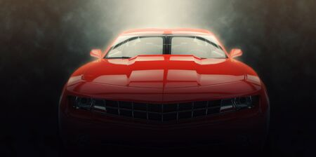 Red muscle car - epic lighting shot Фото со стока