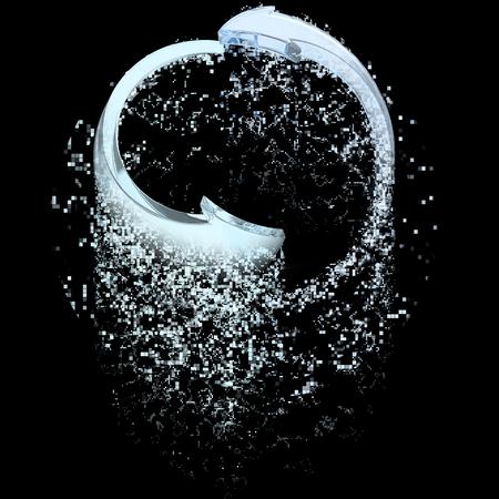 disintegrating: Recycle water arrows symbol - disintegrating
