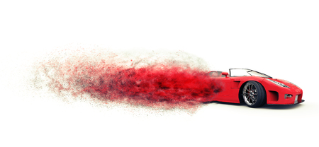 Awesome red sports car disintegrating