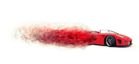 disintegrating: Awesome red sports car disintegrating
