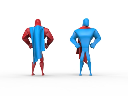 capes: Red and blue superheroes with blue and red capes