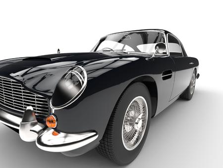 Black vintage car - headlight and tire closeup Imagens