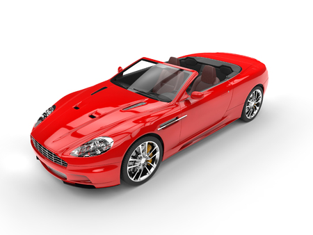 Red convertible sports car - top view Imagens