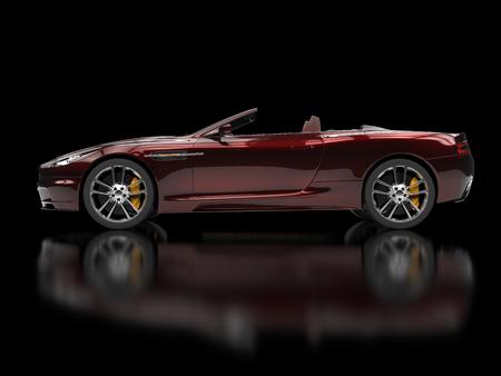 red metallic: Dark red metallic convertible sports car Stock Photo