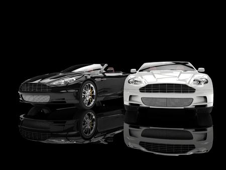 Black and white modern sports luxury cars Archivio Fotografico