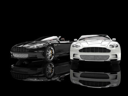 Black and white modern sports luxury cars Stockfoto