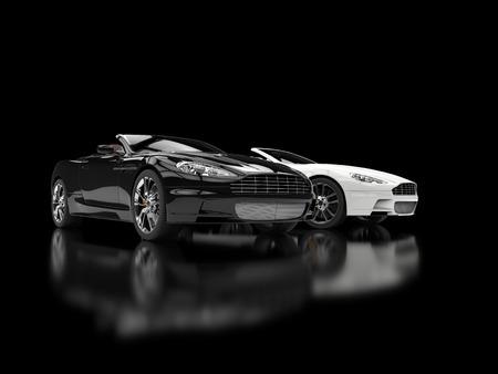 黒と白の高級スポーツ車 - ぼやけた反射