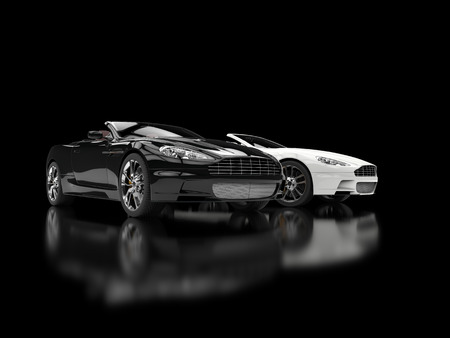 car wheels: Black and white luxury sports cars - blurry reflection