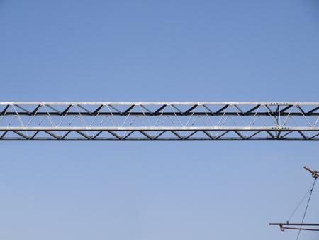 girders: Metal girders - blue sky background