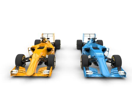bolide: Blue and yellow Formula racing cars.