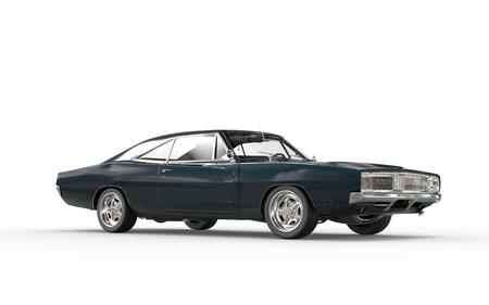 american sport: Dark blueish retro car.