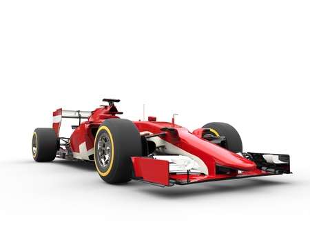 Red Formula racing car - Low View Closeup