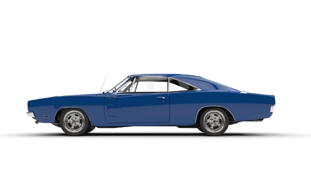 Blue vintage muscle car - side view.
