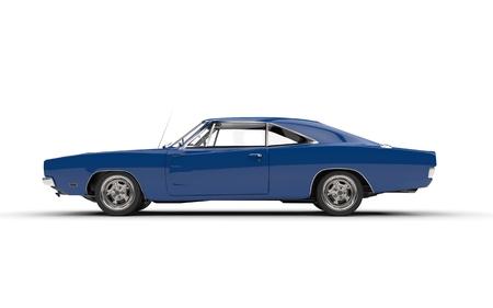 Automobile blu del muscolo dell'annata - vista laterale.