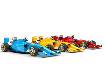 bolide: Row of Formula racing cars - primary colors.