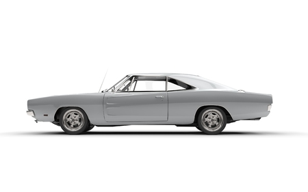 car side: Silver metallic retro muscle car - side view. Stock Photo