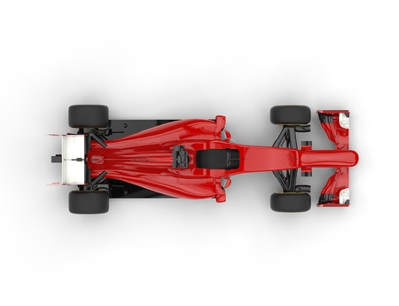 Red Formula racing car with white tail wing - top view