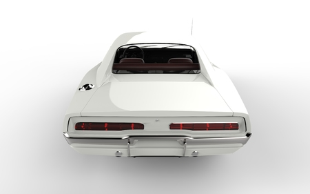 taillight: White retro muscle car - taillight view.