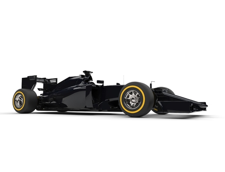 Black Formula racing cars - side view - studio shot