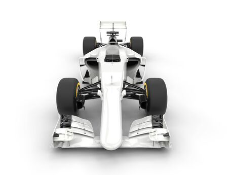 bolide: White Formula racing cars - front view. Stock Photo