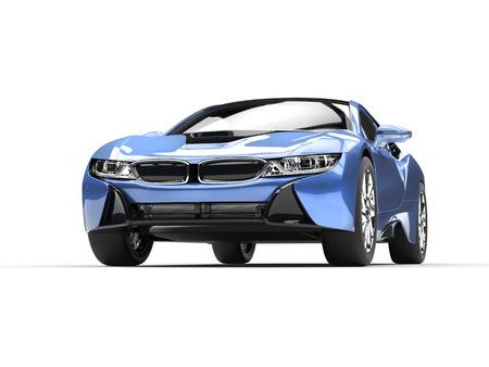 Light blue modern sports car - front view closeup shot