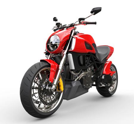 赤いスポーツ バイクの前輪クローズ アップ ショット - 白い背景で隔離
