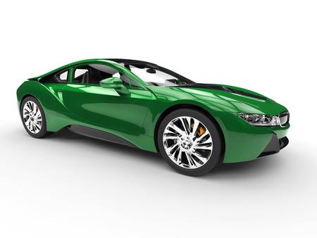 Dark green modern sports car - isolated on white background. Фото со стока