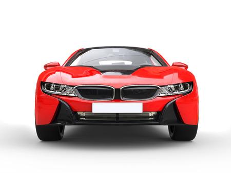 red sports car: Futuristic red sports car - front closeup shot. Stock Photo