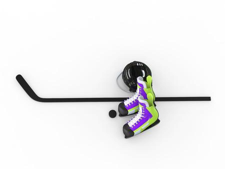 iceskates: Hockey equipment - green purple skates with black helmet - top view Stock Photo