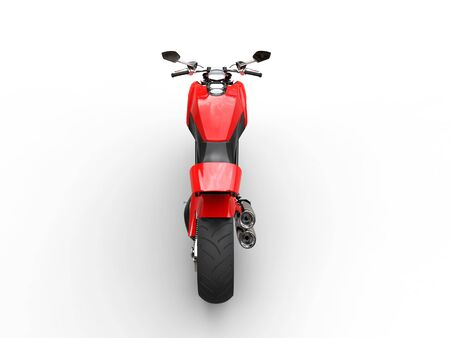 Red sports bike - studio lighting - top back view - isolated on white