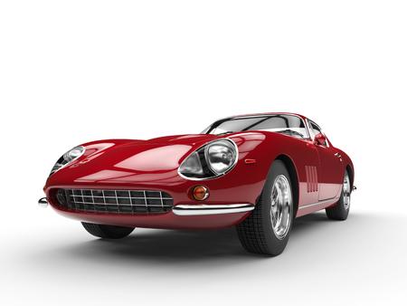 Crimson vintage sports car - headlight closeup - isolated on white background