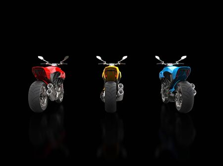 torque: Red, Yellow and Blue sports motorcycles - back view - isolated on black