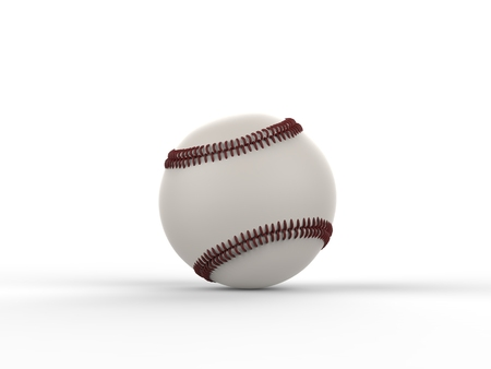 homerun: Baseball with dark red stitches - front view - isolated on white background