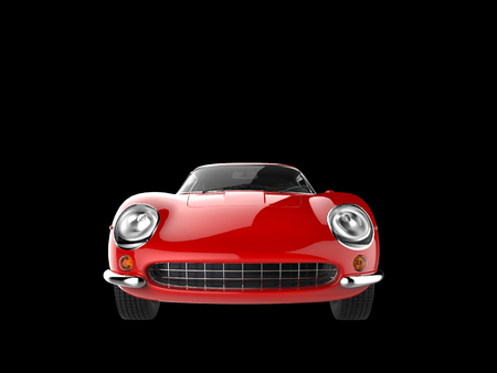 red sports car: Vintage red sports car - front view closeup shot - isolated on black background