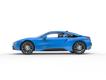Modern blue sports car - side view - isolated on white background.