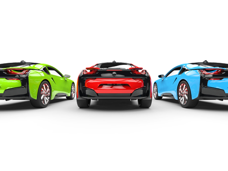 Red, Green And Blue Sports Cars   Back View   Isolated On White.. Stock  Photo, Picture And Royalty Free Image. Image 56828591.