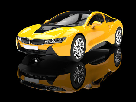 Modern yellow sports car - isolated on black reflective background.
