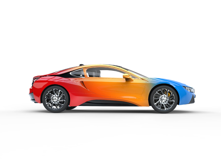 Modern sports car - tricolor variation paint - side view