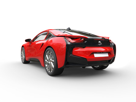 taillight: Modern red sports car - taillight view - isolated on white