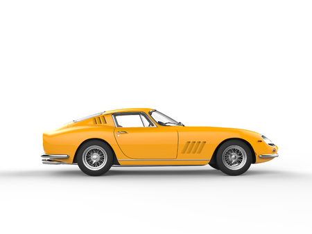 Awesome yellow vintage sports car - isolated on white background