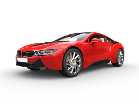 Modern red sports car - isolated on white background.