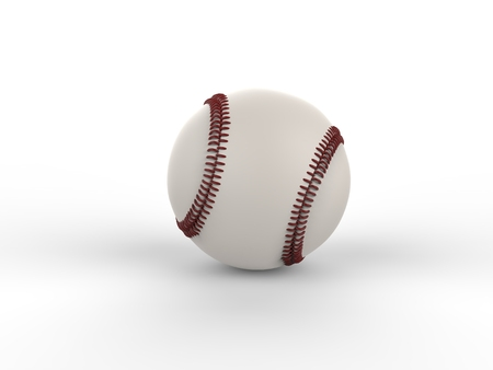 homerun: Baseball with dark red stitches - isolated on white background