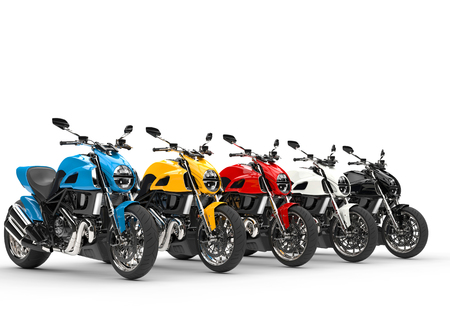 torque: Sports motorcycles in a row - isolated on white background