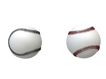 homerun: Two baseballs - red and black stitches - isolated on white background