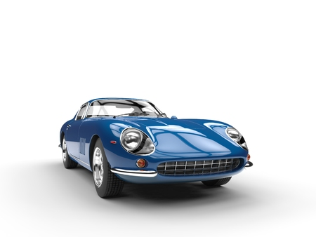 Blue vintage sports car - front view - isolated on white background Stockfoto