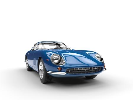 Blauwe vintage sportwagen - vooraanzicht - geïsoleerd op een witte achtergrond