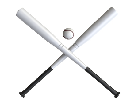 hardball: Two white baseball bats crossed - baseball in the middle - isolated on white background Stock Photo