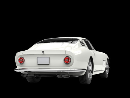 white tail: Classic sports car - white - tail view - isolated on black background Stock Photo